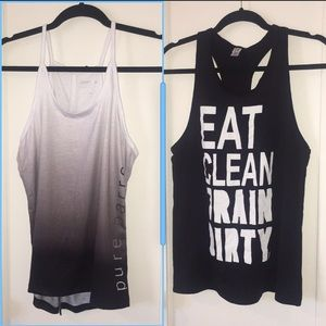 Pure Barre and Eat Clean Train Dirty Workout Tanks